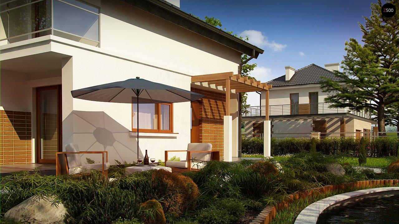Проект дома с мансардой, с высокой аттиковой стеной, с дополнительной комнатой на первом этаже. 4