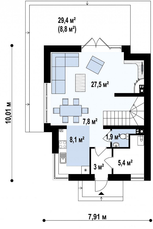 Дом простой энергосберегающей формы со светлым интерьером, подходящий для узкого участка. план помещений 1