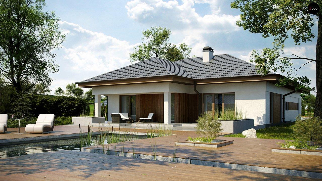 Одноэтажный дом с многоскатной крышей, с удобным функциональным интерьером. 6