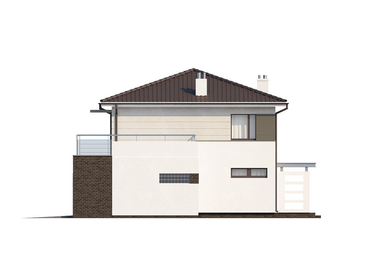 Практичный двухэтажный дом простой формы с низкой крышей, с гаражом для двух автомобилей. - фото 6