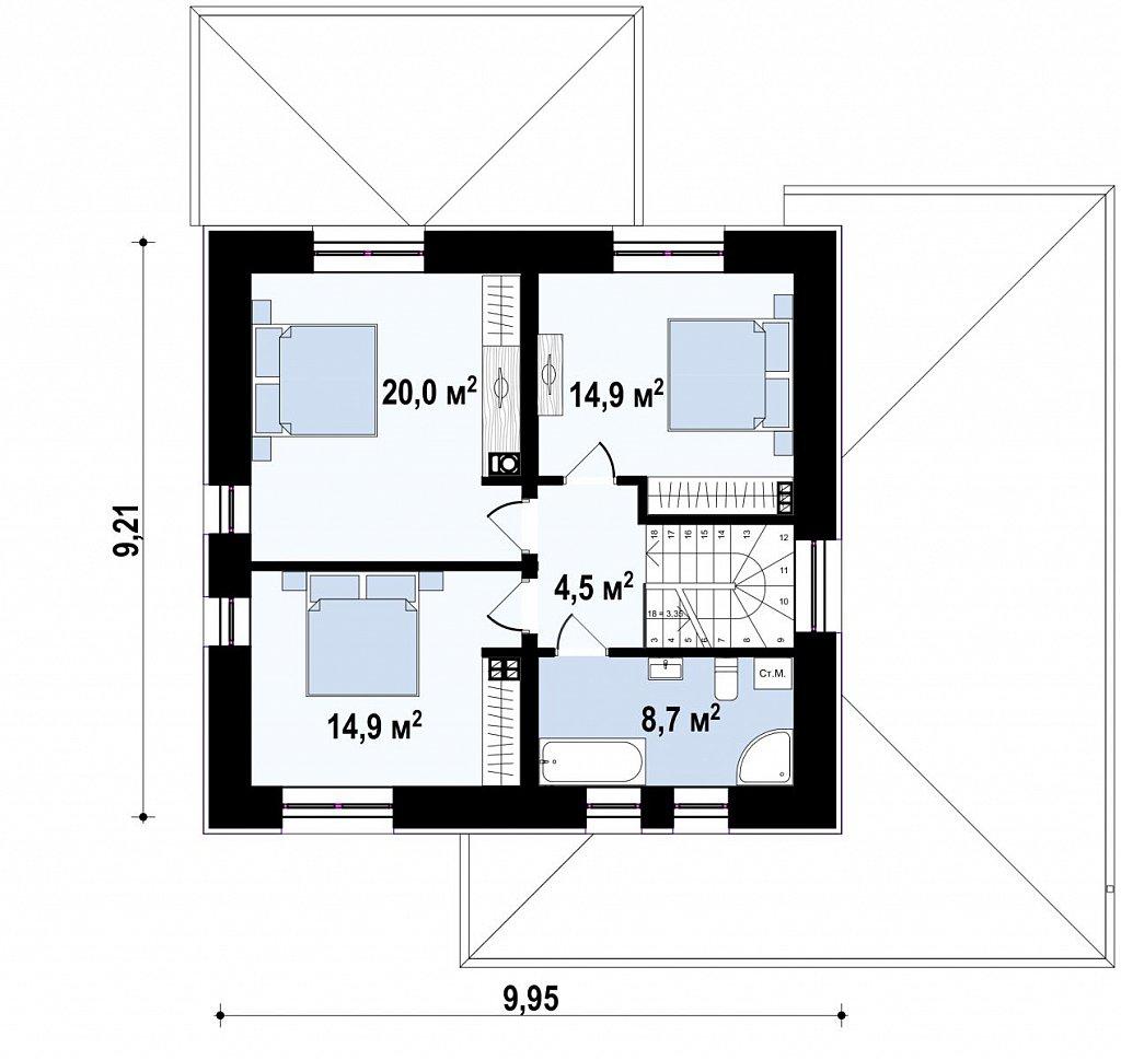Проект двухэтажного дома на фасаде с клинкерным кирпичом план помещений 2