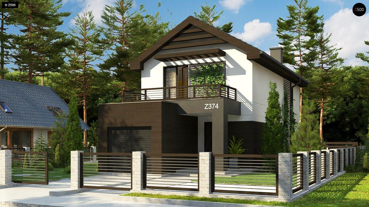 Проект двухэтажного дома в современном стиле, подойдет для строительства на узком участке. - фото 2