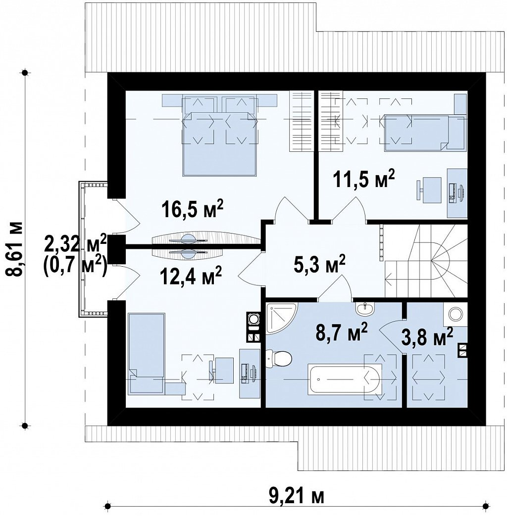 Компактный дом с мансардой, эркером в дневной зоне и c кабинетом на первом этаже. план помещений 2