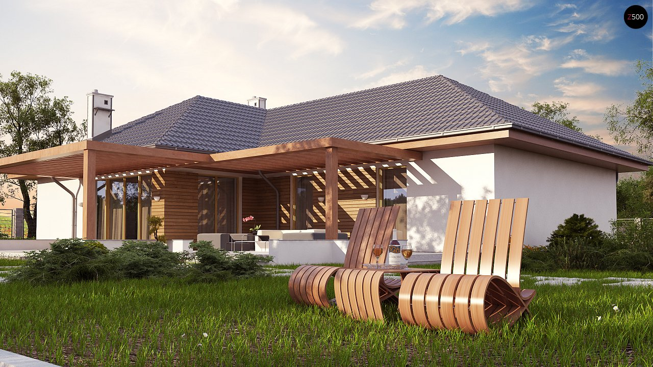 Проект комфортного одноэтажного дома с фронтальным гаражом для двух машин. 3