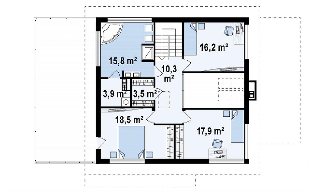 Версия проекта двухэтажного дома Zx2 c увеличенным гаражом план помещений 2