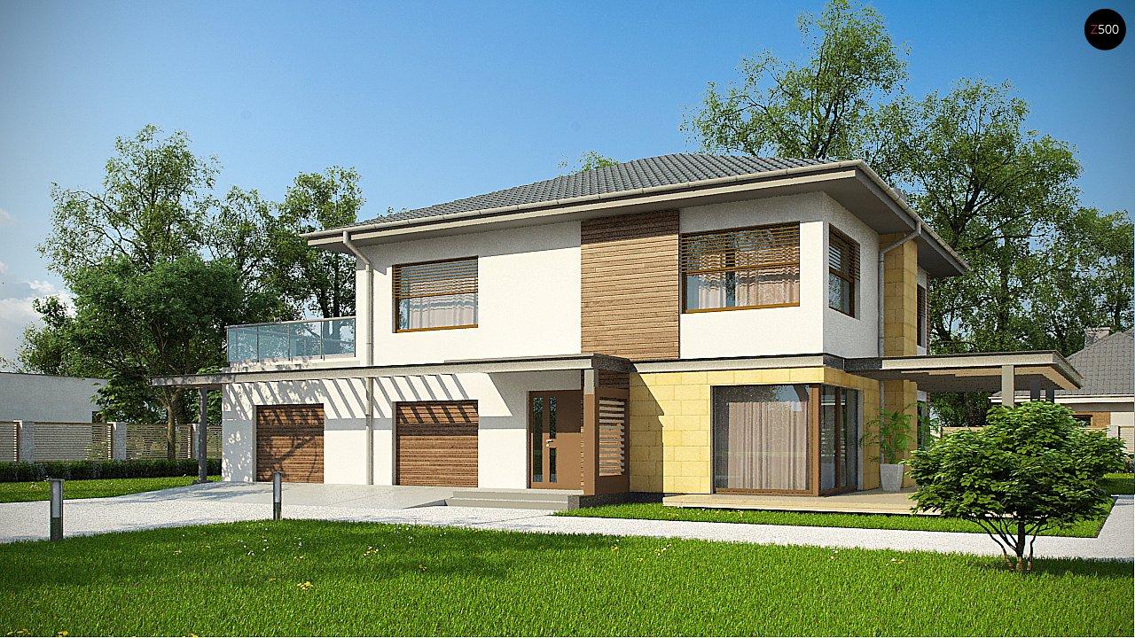 Версия проекта двухэтажного дома Zx2 c увеличенным гаражом 1
