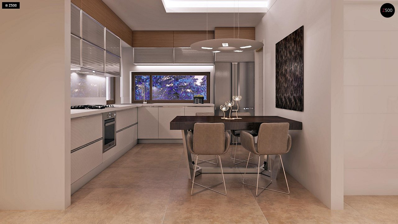 Дом характерного современного дизайна с гаражом и кабинетом на первом этаже. - фото 26