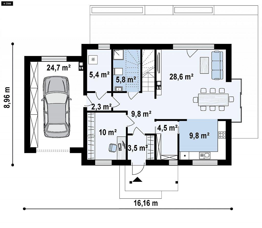 Красивый дом в традиционном стиле архитектуры, с комнатой на пером этаже и гаражом. план помещений 1
