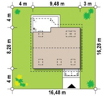 Простой и экономичный дом с мансардой и дополнительной комнатой на первом этаже. план помещений 1