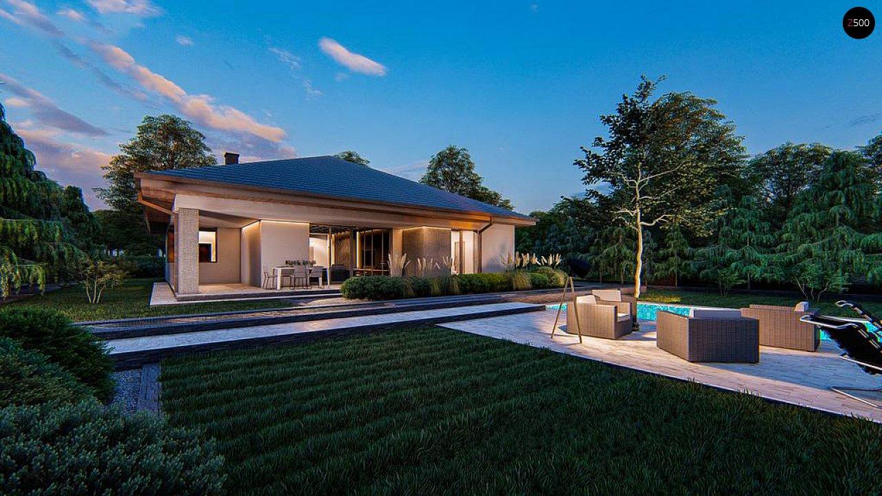 Современный одноэтажный проект дома с многоскатной крышей и гаражом на две машины - фото 6
