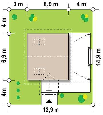Проект небольшого дома с мансардой, с крытой боковой террасой. план помещений 1