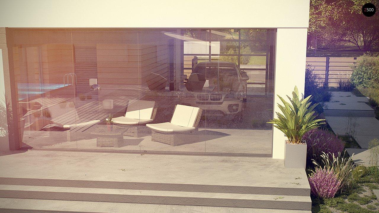 Современный одноэтажный дом хай-тек с навесом для автомобиля 9