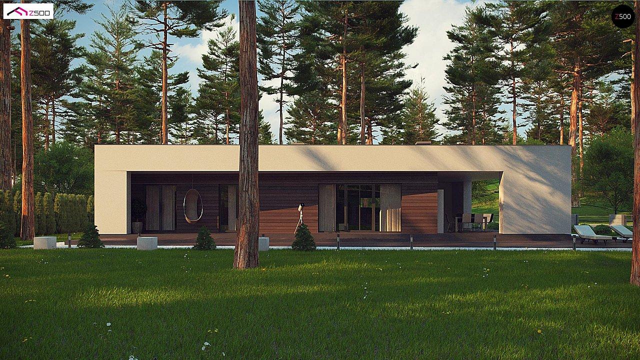 Современный одноэтажный дом с боковой террасой 9