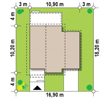 Зеркальное отображение проекта Z38 с гаражом с правой стороны. план помещений 1
