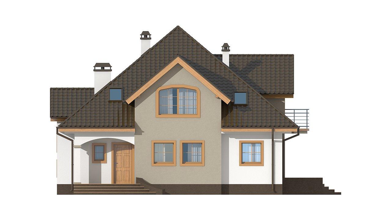 Классический мансардный дом с балконами. 26