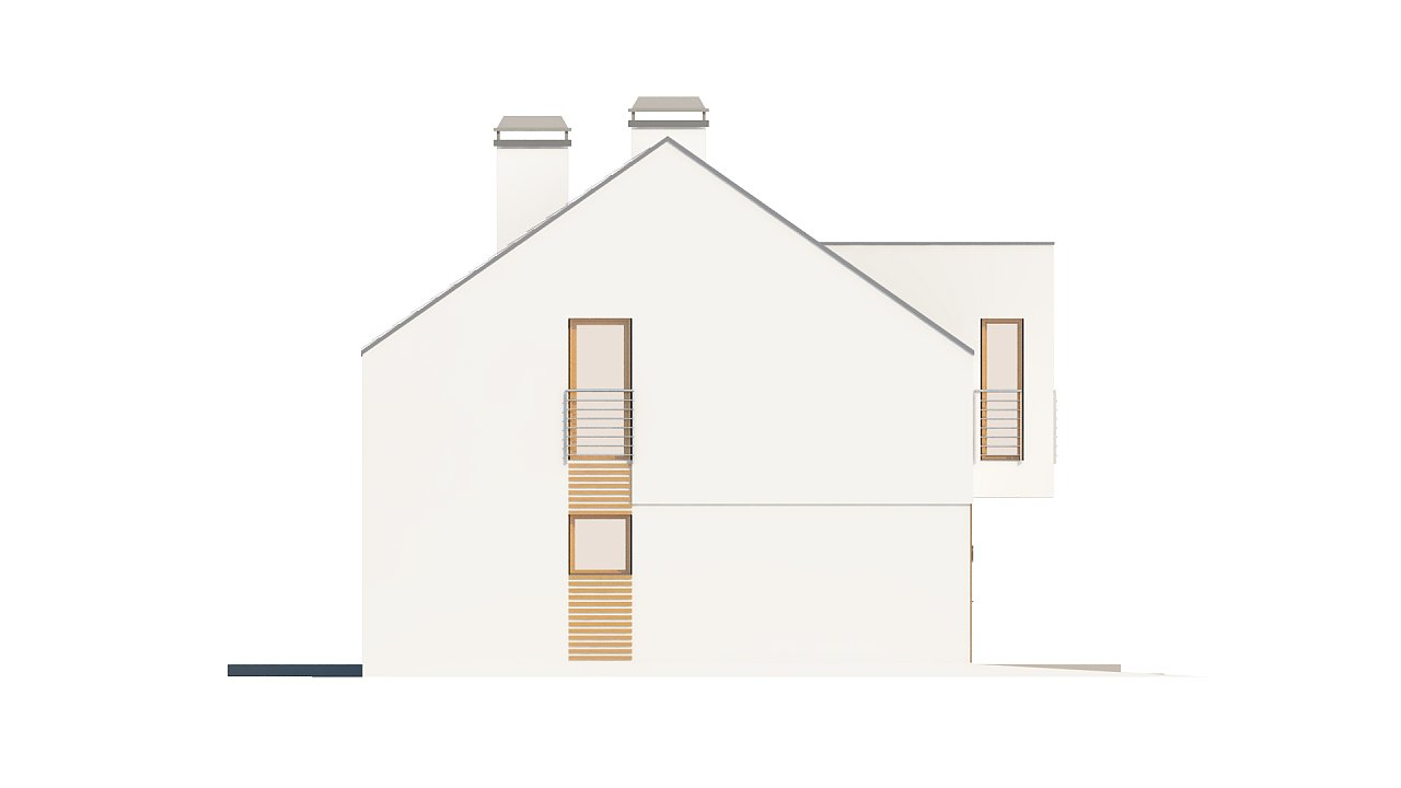 Современный функциональный дом с гаражом, с оригинальным выступом над входом. 22