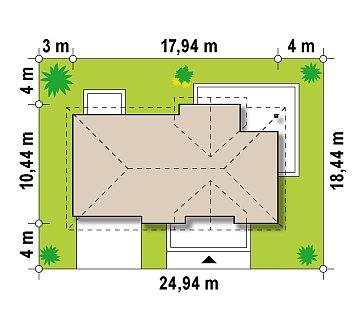 Комфортный стильный дом с большим гаражом для двух автомобилей и дополнительной комнатой над ним. план помещений 1