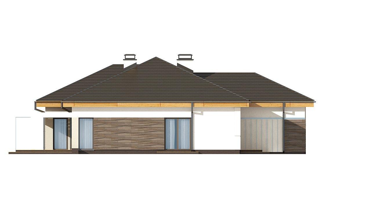 Проект одноэтажного дома с фронтальным выступающим гаражом и возможностью обустройства мансарды. 14