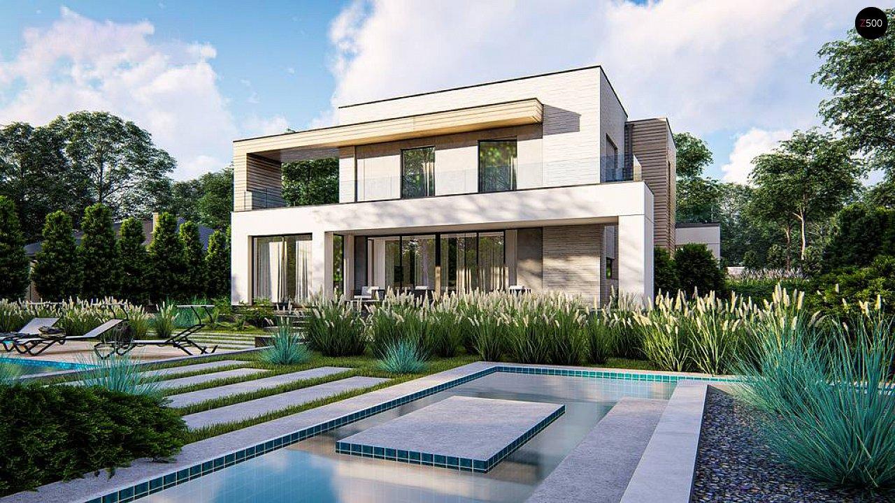 Современный двухэтажный дом с плоской крышей и гаражом на 2 машины. 2