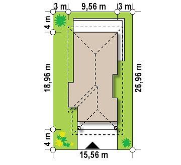 Проект уютного одноэтажного дома с 3 спальнями план помещений 1