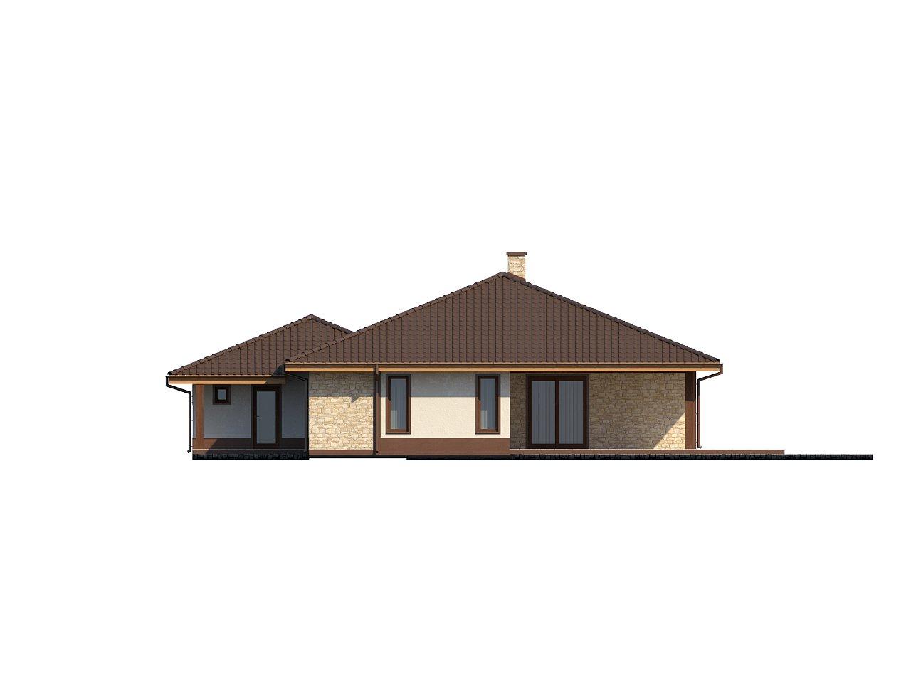 Комфортабельный одноэтажный дом для продольного участка с большим гаражом, с возможностью обустройства мансарды. 4