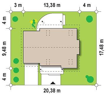 Проект практичного дома с эркером и гаражом на одну машину. план помещений 1
