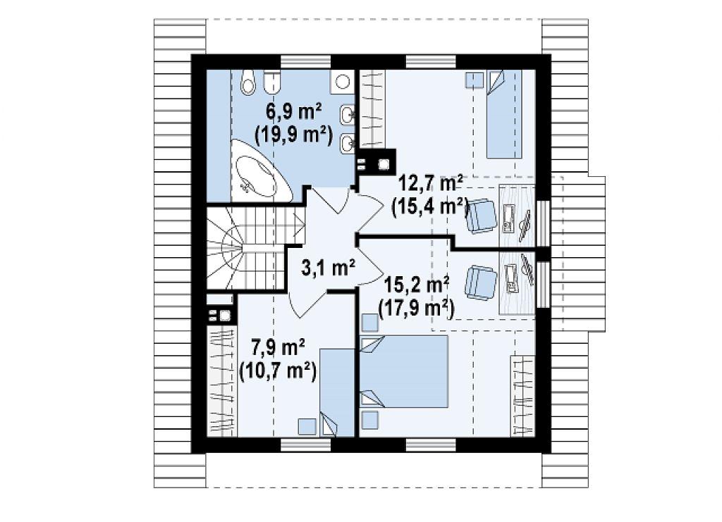 Проект компактного и функционального дома с кабинетом на первом этаже. план помещений 2
