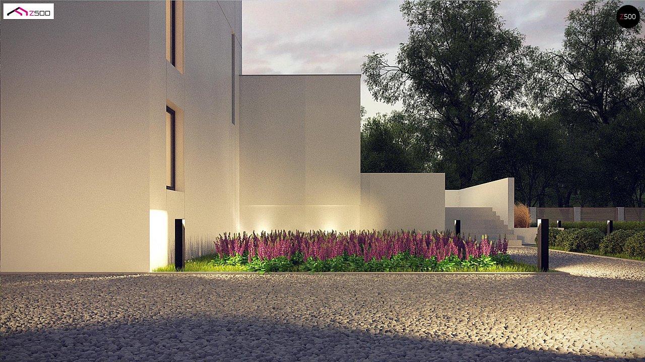 Современный проект с уникальным дизайном, оштукатуренным фасадом и гаражом 7