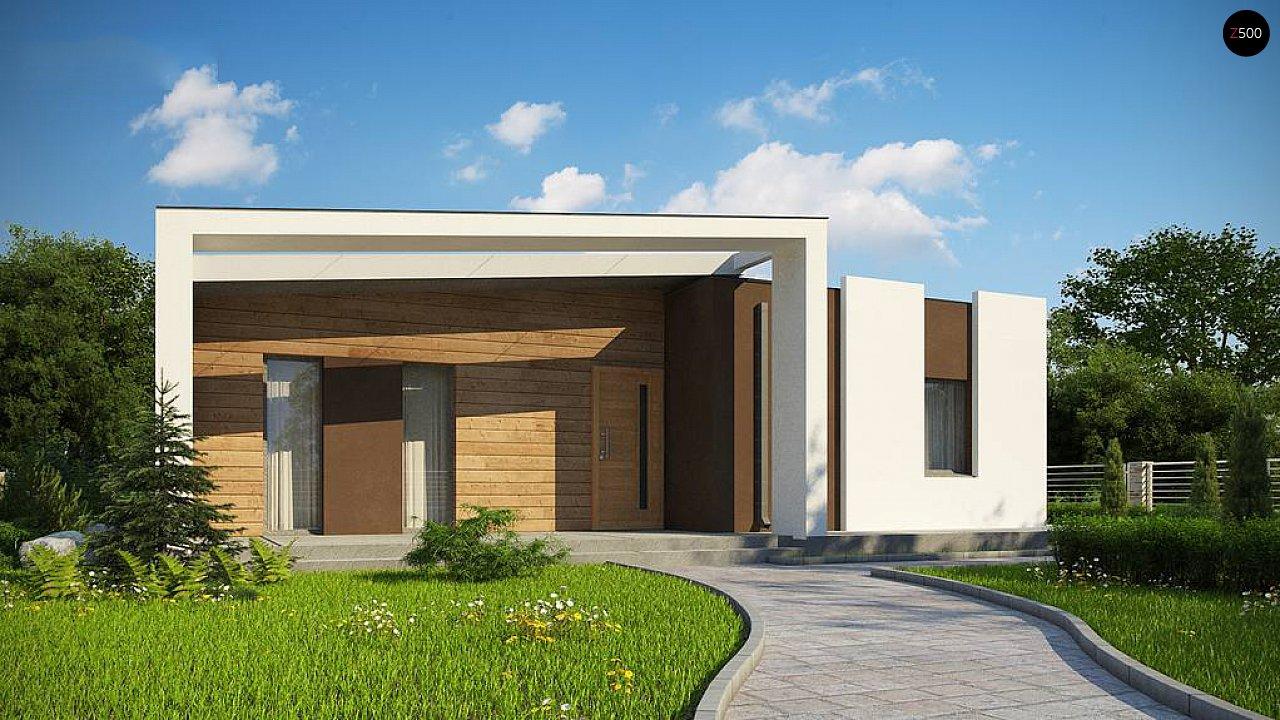Современный и функциональный одноэтажный дом с уникальной архитектурной формой. 1