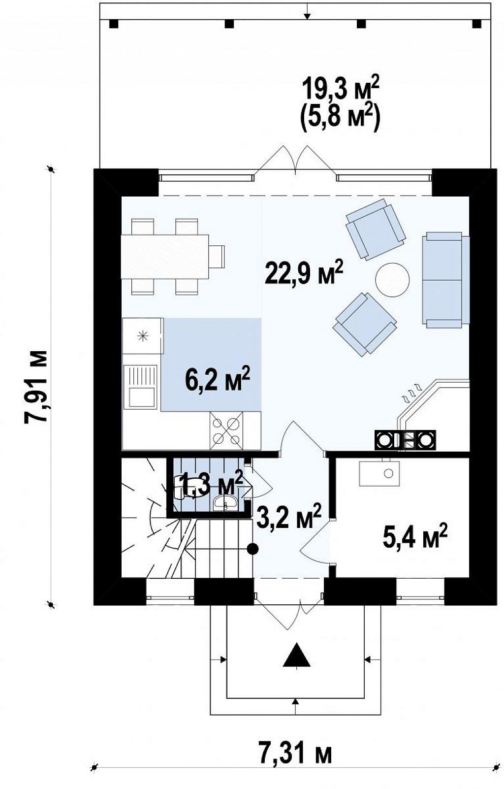 Небольшой мансардный дом с верандой, подойдет для строительства на узком участке. план помещений 1