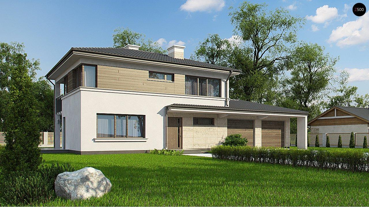 Двухэтажный дом с низкой кровлей с двухместным гаражом - фото 1