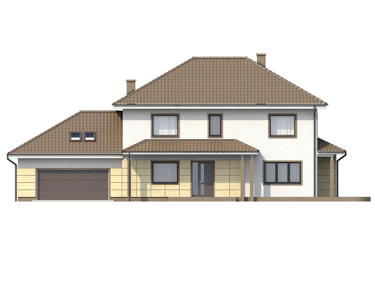 Просторный и функциональный двухэтажный дом с многоскатной кровлей и гаражом. - фото 3