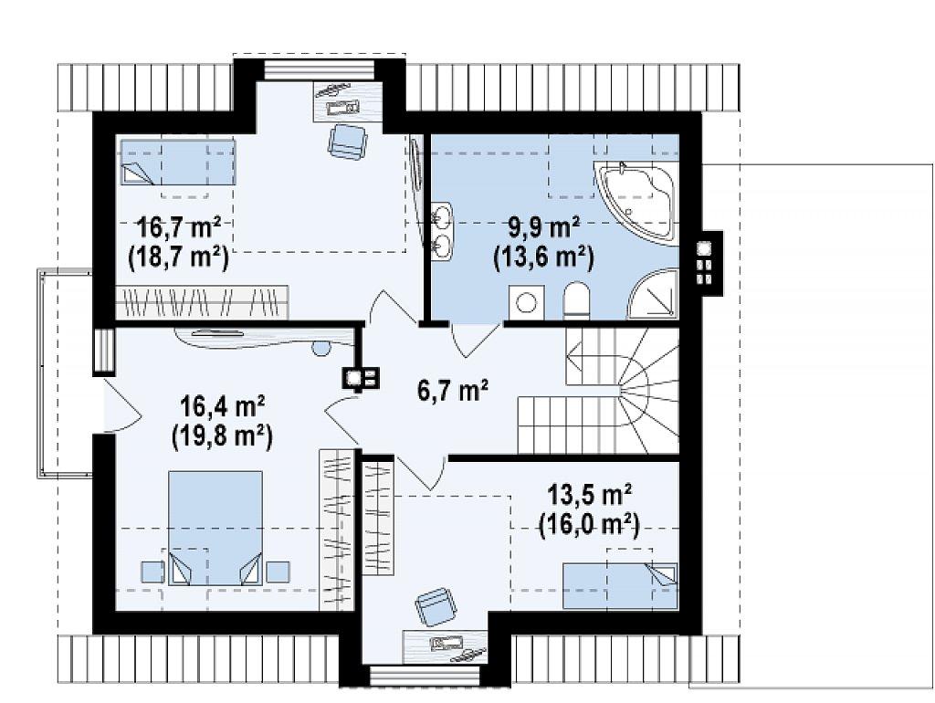 Стильный дом с оригинальными мансардными окнами, с гаражом и кабинетом на первом этаже. план помещений 2