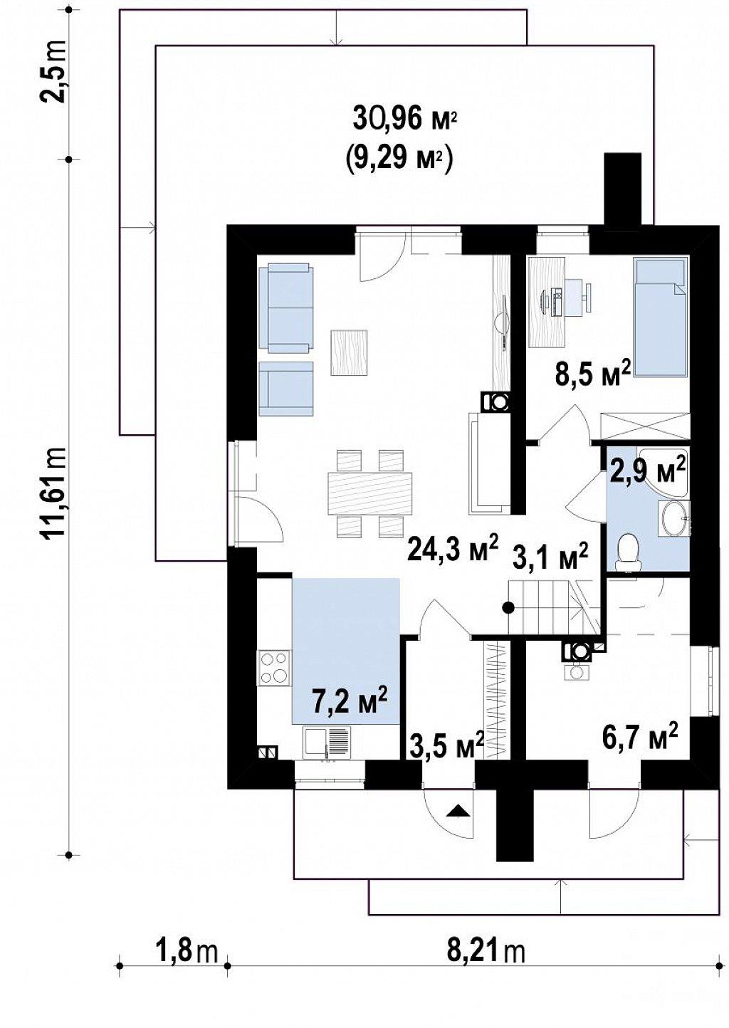 Компактный двухэтажный дом для узких участков. план помещений 1