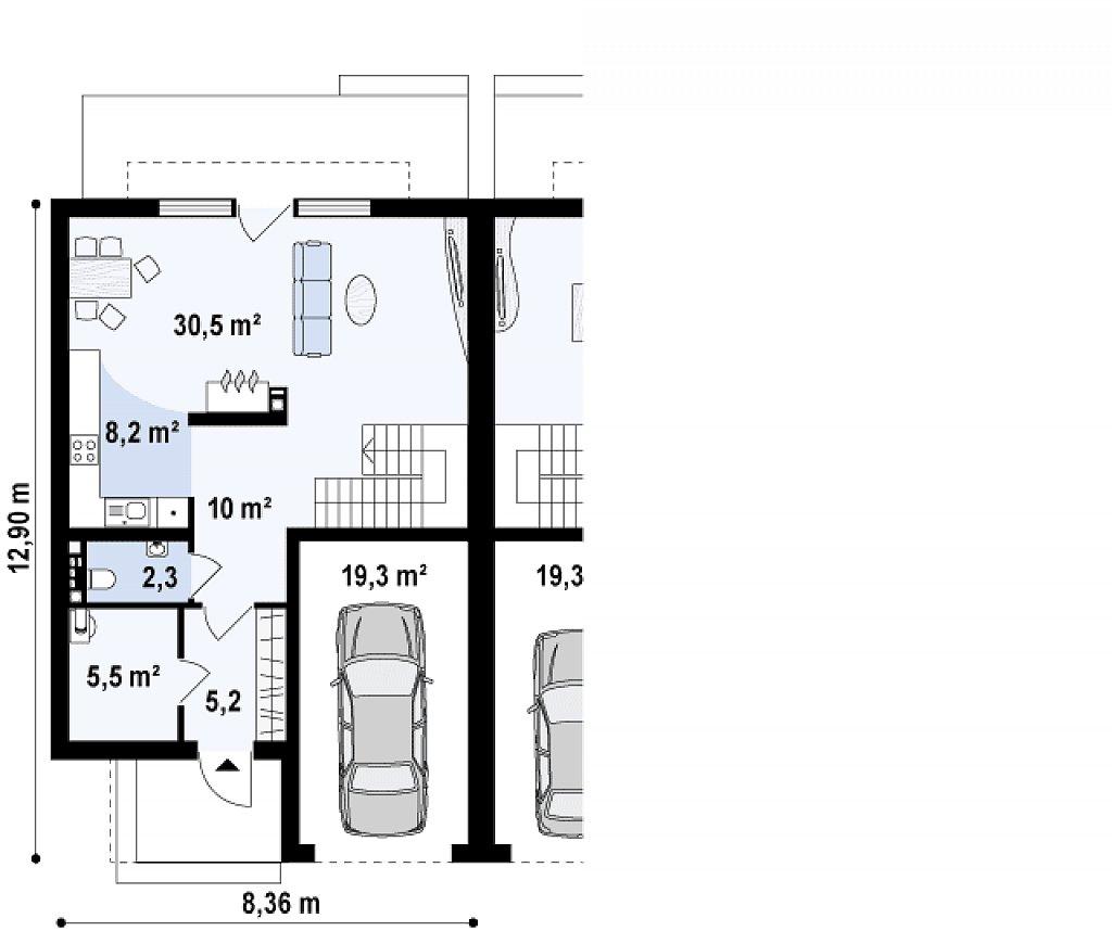 Дома близнецы стильного современного дизайна. план помещений 1