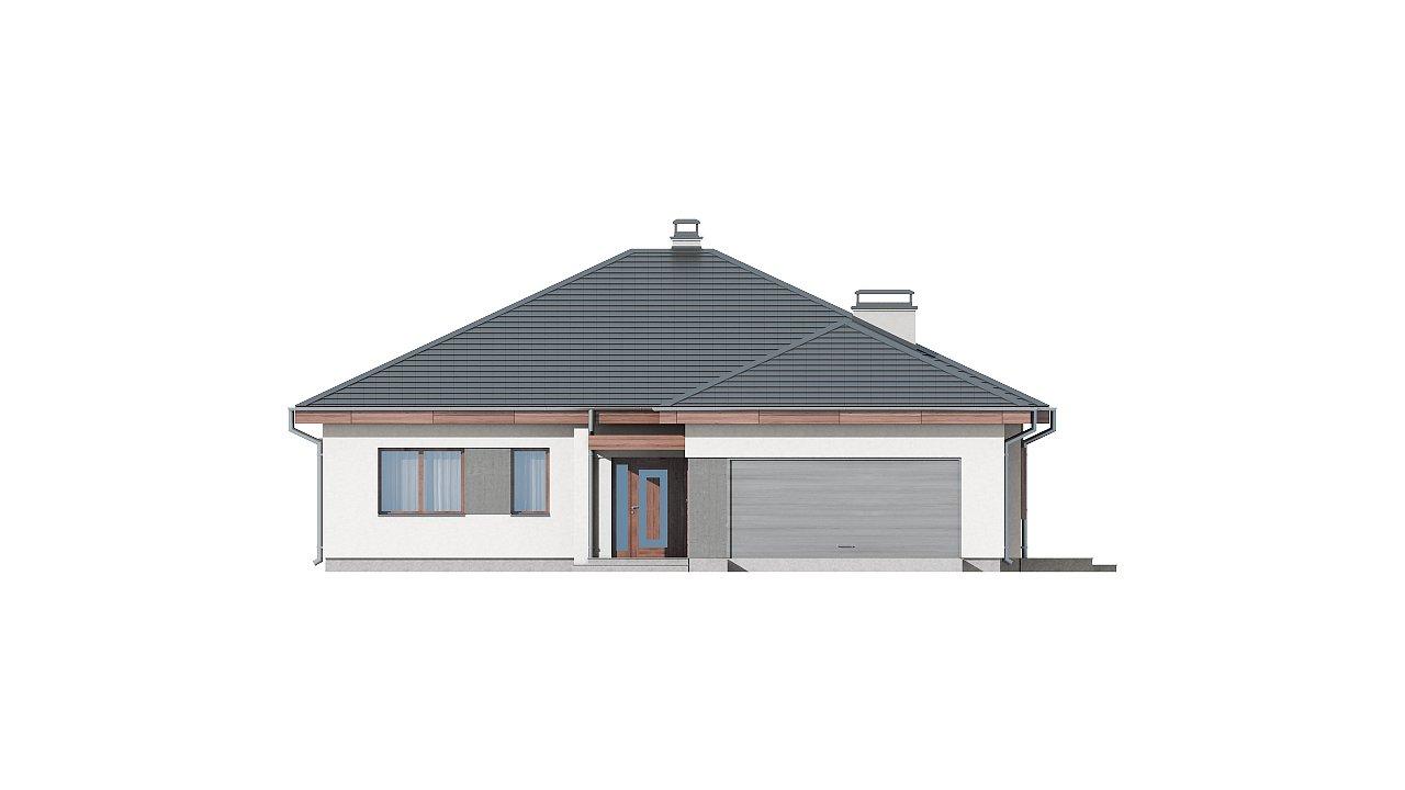 Проект одноэтажного дома с многоскатной кровлей, с фронтальным гаражом. - фото 13