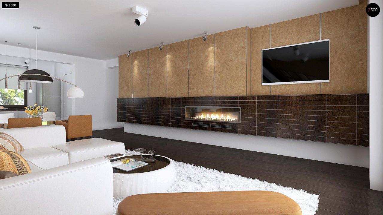 Проект удобного одноэтажного дома с гаражом для двух автомобилей и большим хозяйственным помещением. 3