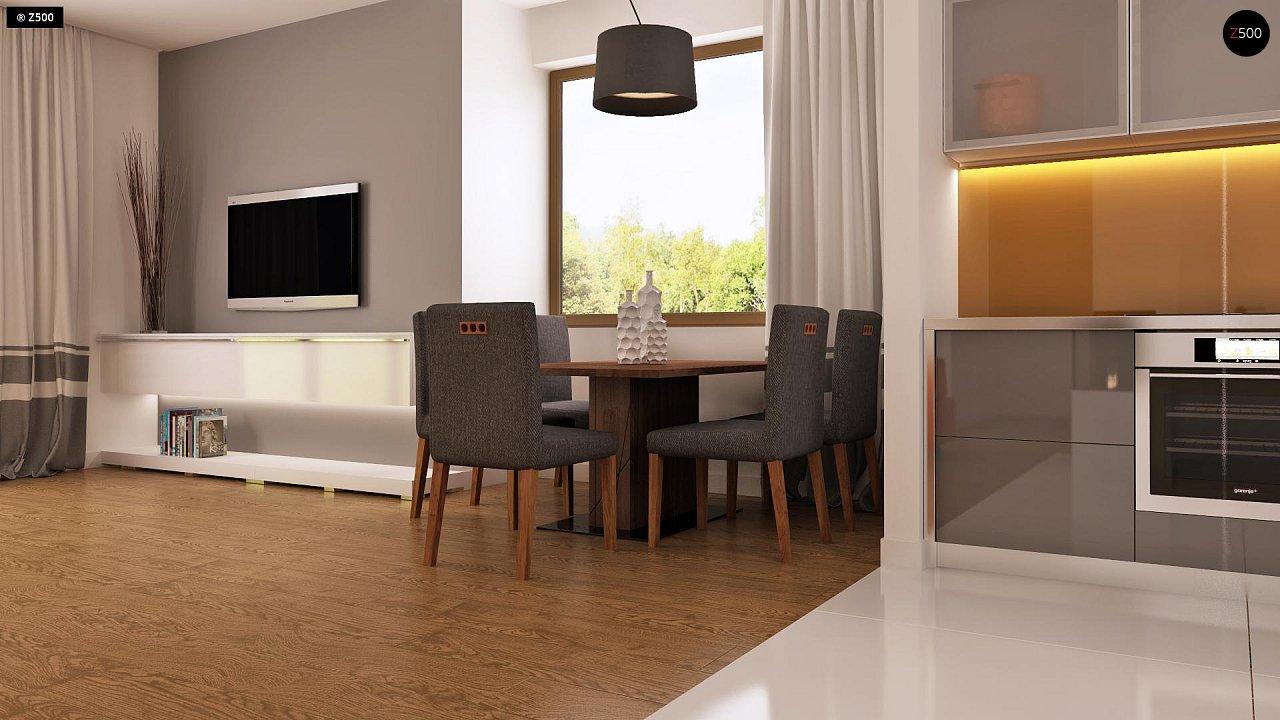 Функциональный одноэтажный дом с современными элементами отделки фасадов. - фото 6