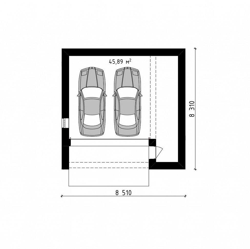 Проект гаража в стиле хай-тек для двух машин план помещений 1