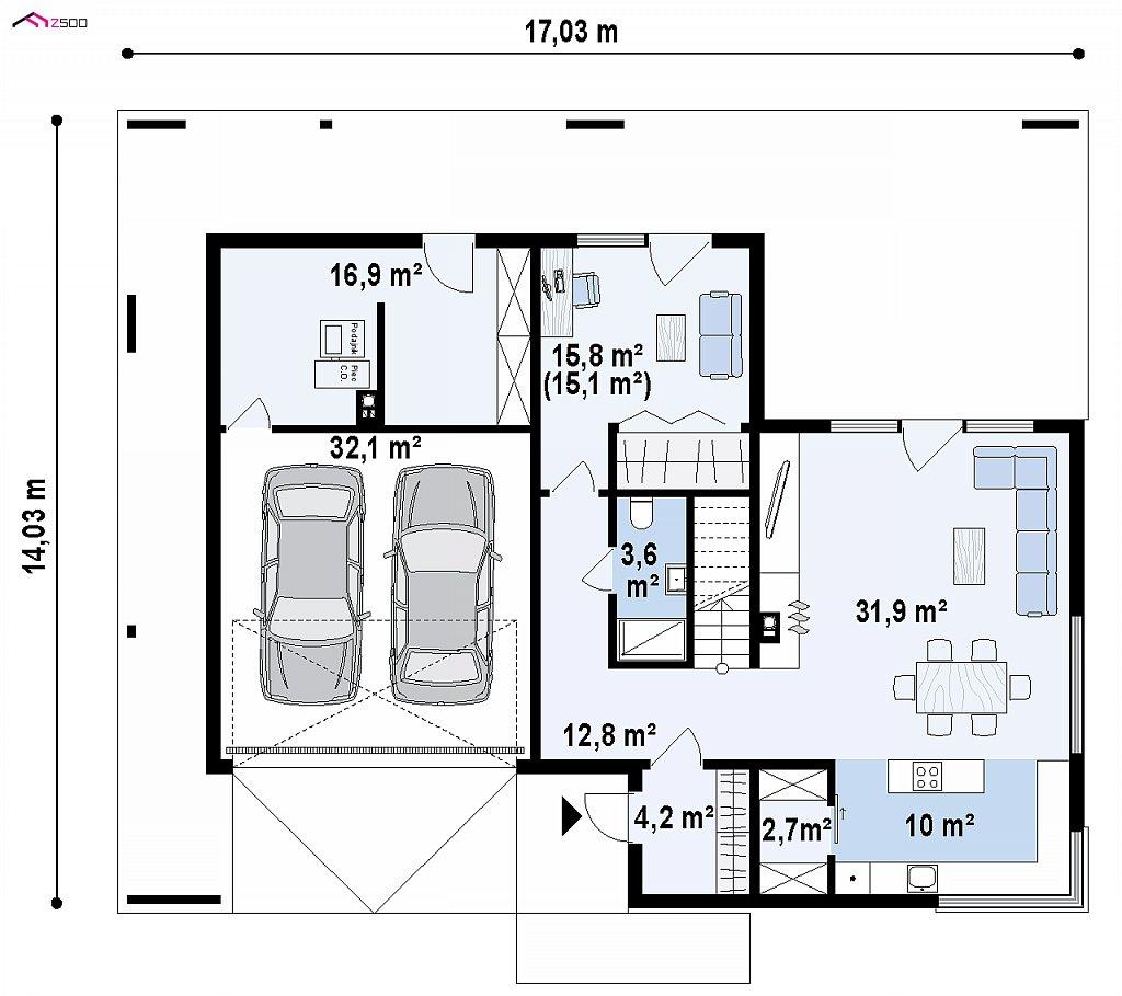Современный дом с 2-х скатной кровлей, окруженный террасой с плоской крышей. план помещений 1