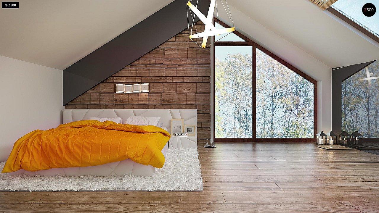 Необычные мансардные окна, фронтальный гараж и современные фасады выделяют этот проект среди остальных. 10