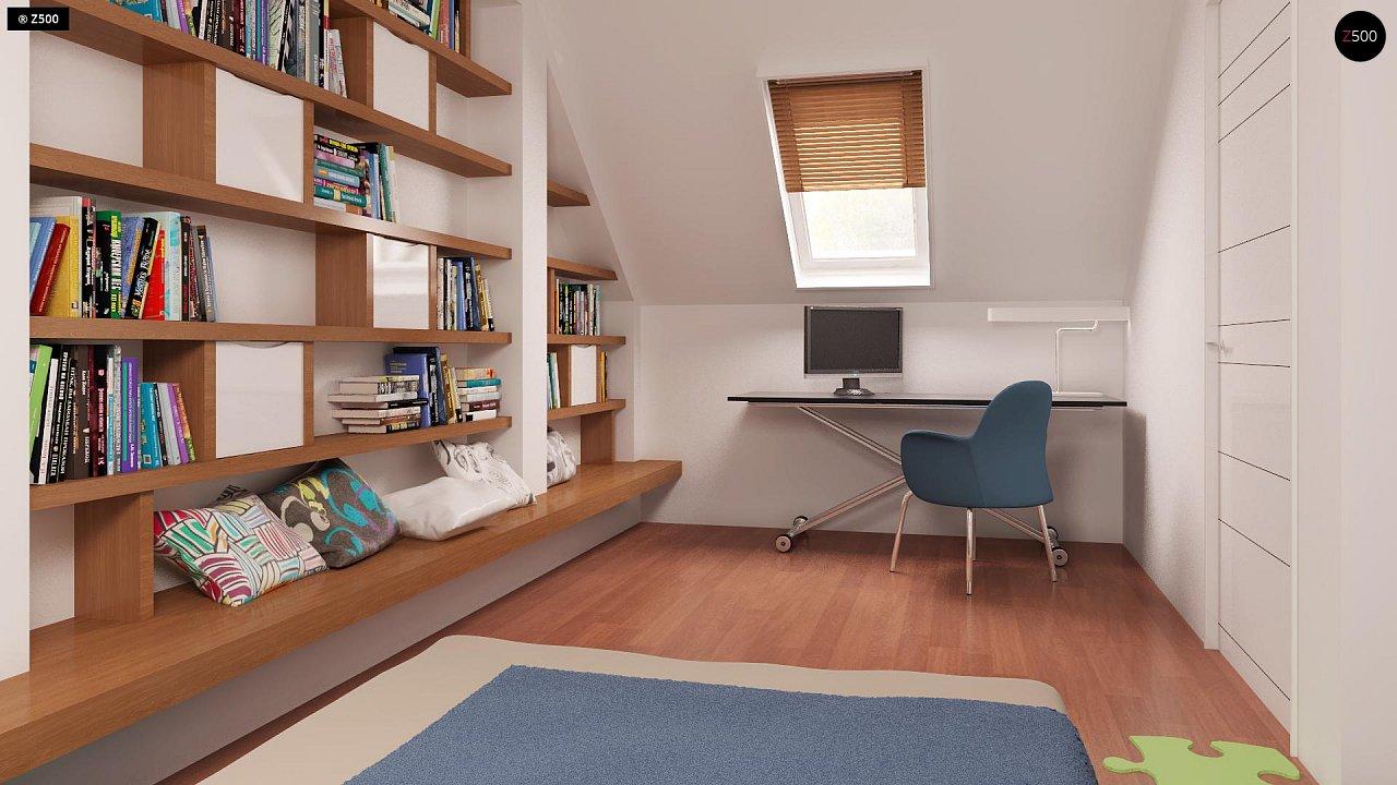 Компактный традиционный дом простой формы с двускатной крышей. 18