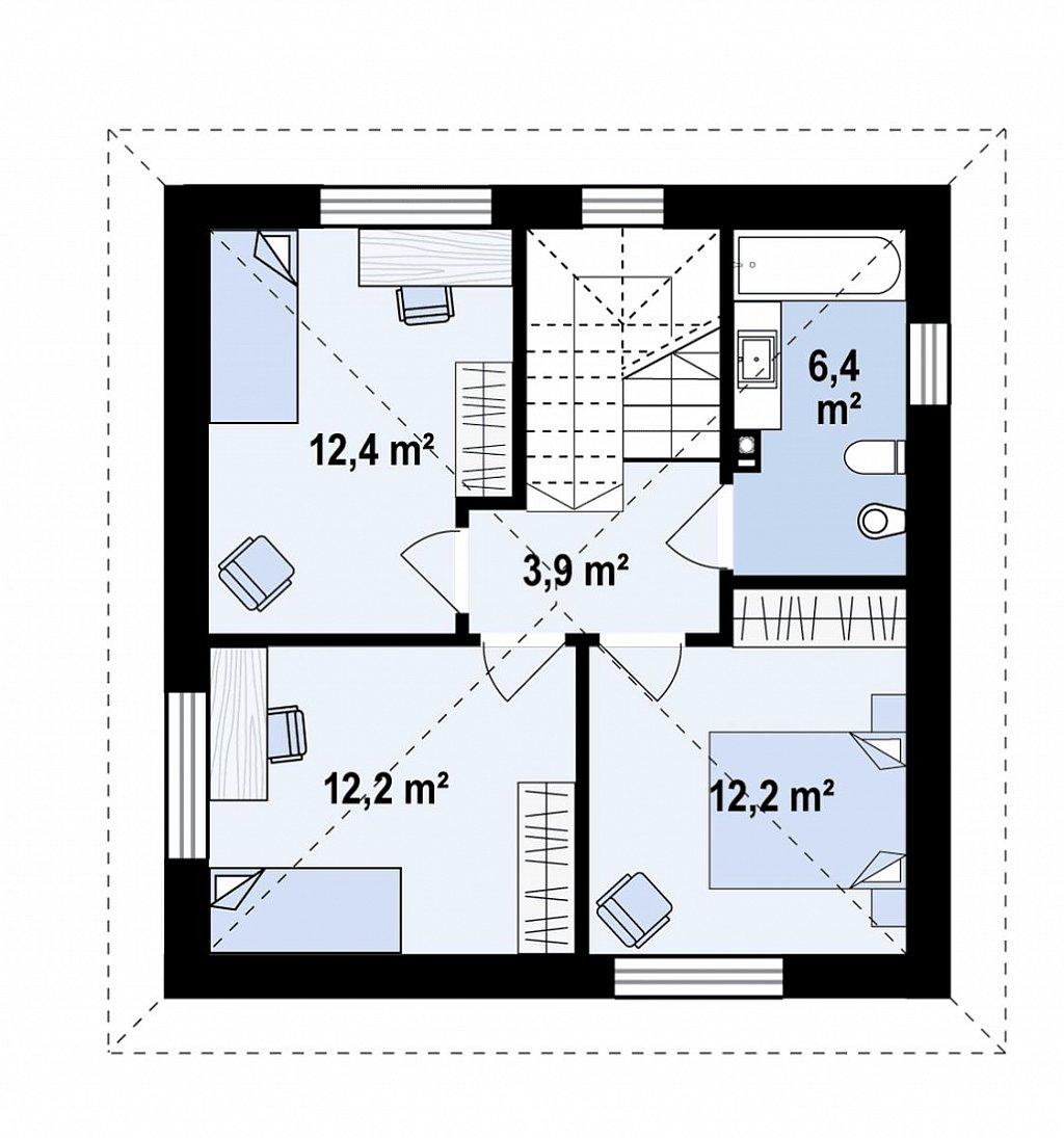 Функциональный двухэтажный дом план помещений 2