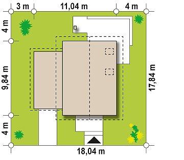 Версия дома Z177 с гаражом, пристроенным с левой стороны. план помещений 1
