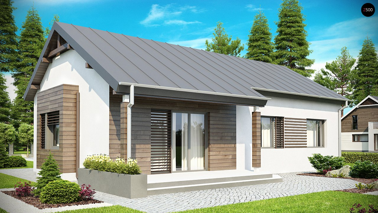 Функциональный одноэтажный дом с современными элементами отделки фасадов. - фото 2