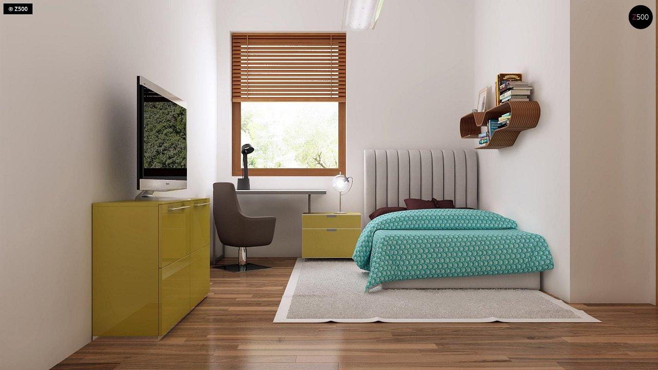 Проект одноэтажного практичного и уютного дома с крытой террасой. 21