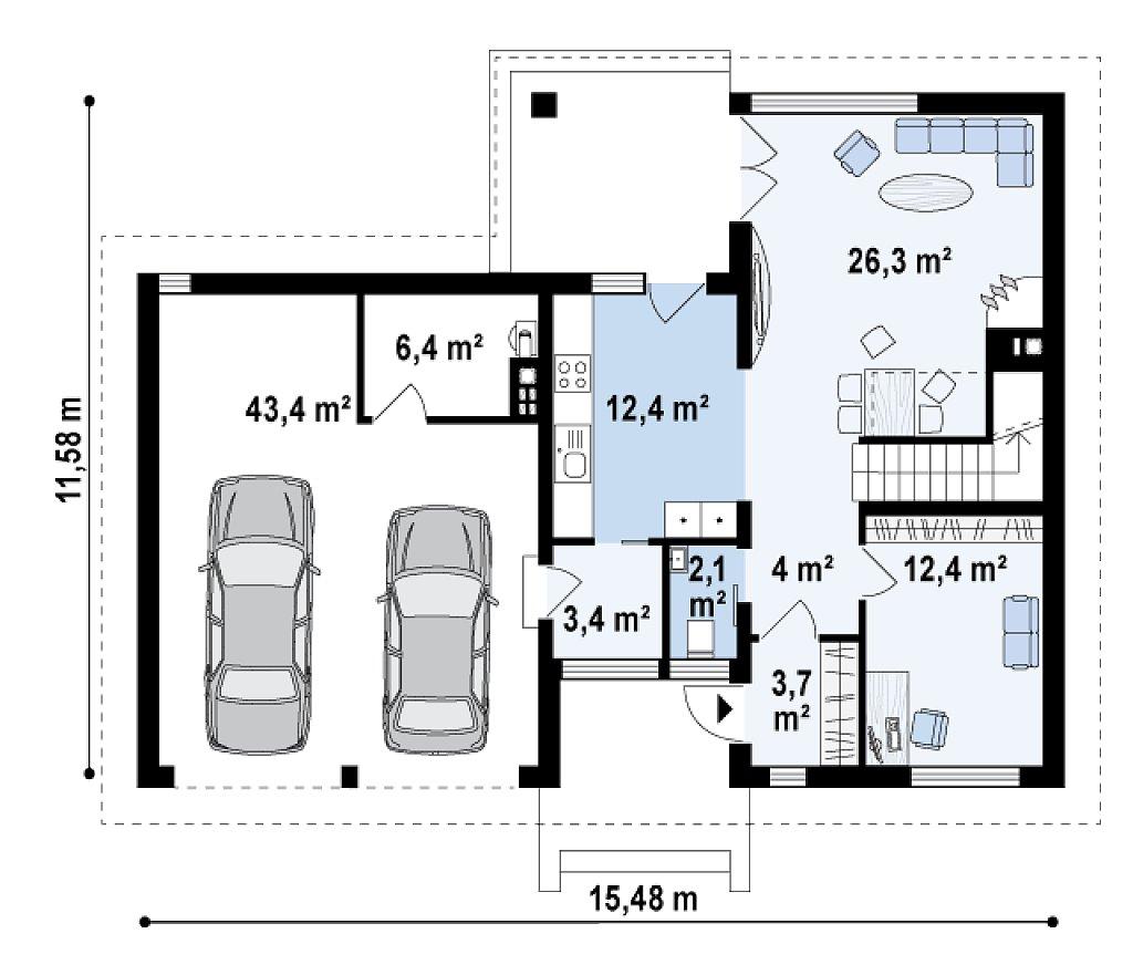 Версия двухэтажного дома Zx24 c увеличенным гаражом для двух машин план помещений 1