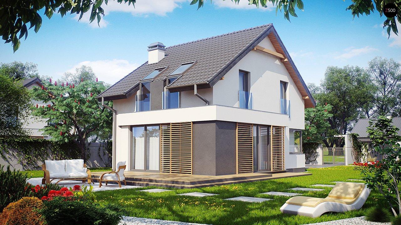 Дом простой энергосберегающей формы со светлым интерьером, подходящий для узкого участка. - фото 1