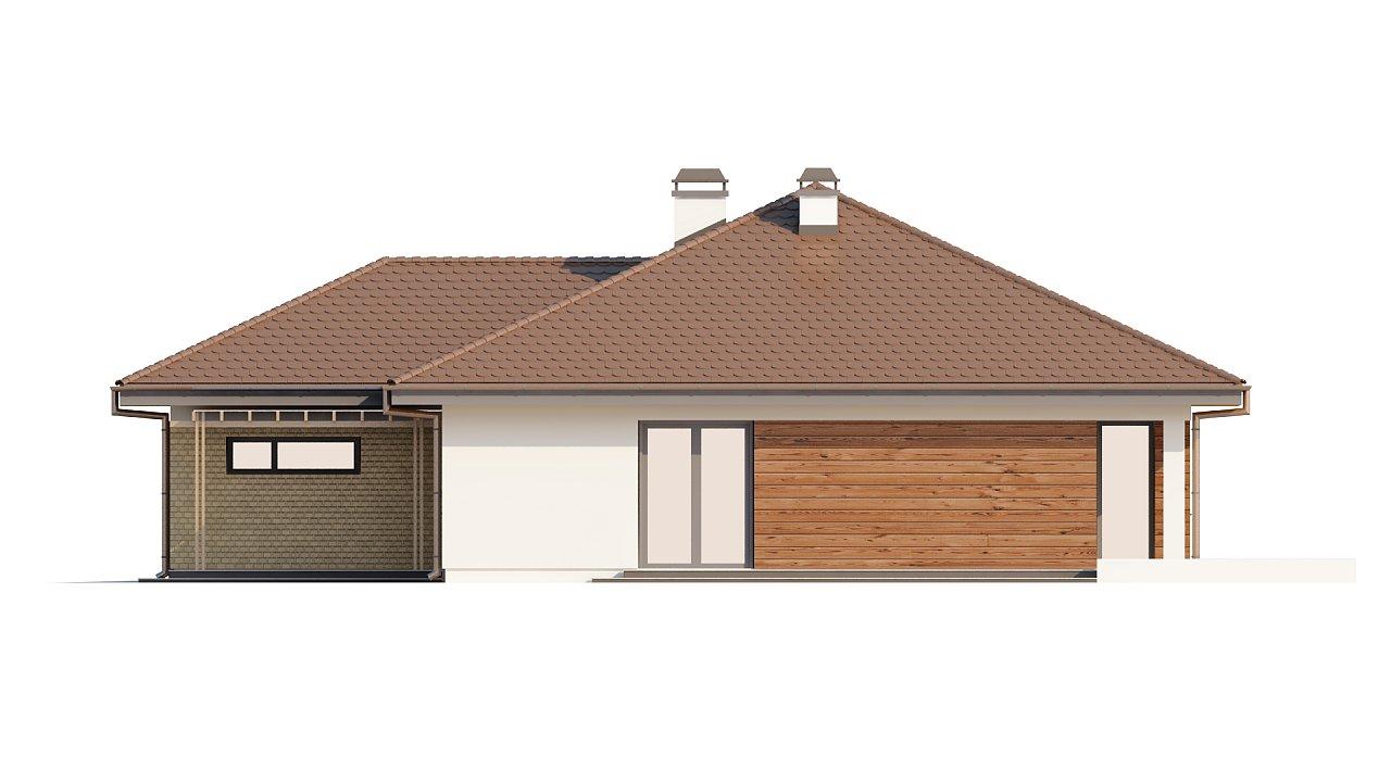 Проект удобного одноэтажного дома с гаражом для двух автомобилей и большим хозяйственным помещением. 22
