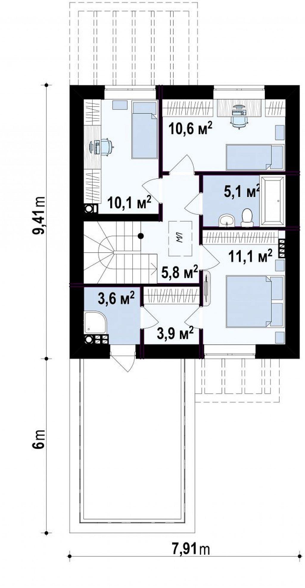 Проект компактного современного дома с двухуровневой планировкой и гаражом на один автомобиль. план помещений 2